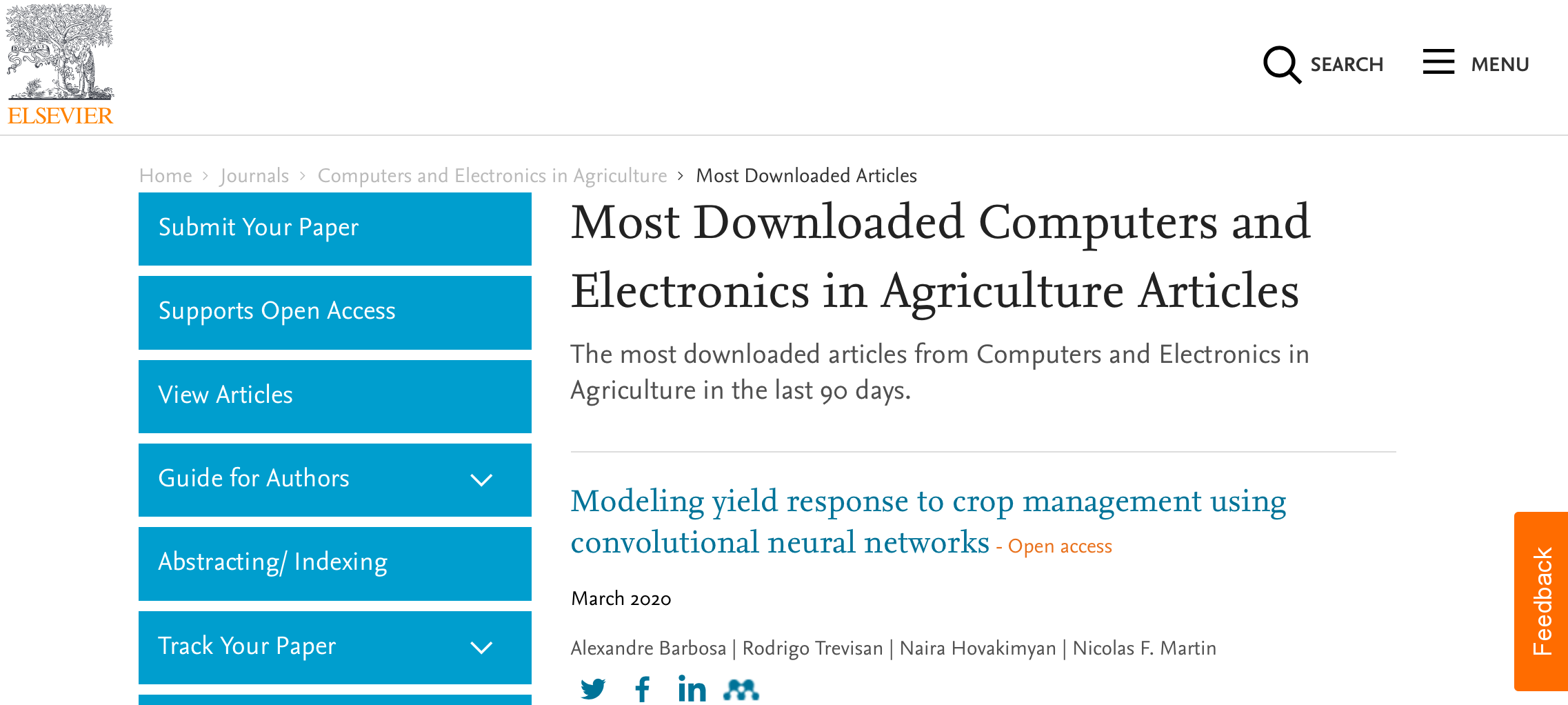 Our article appears among the most downloaded articles!